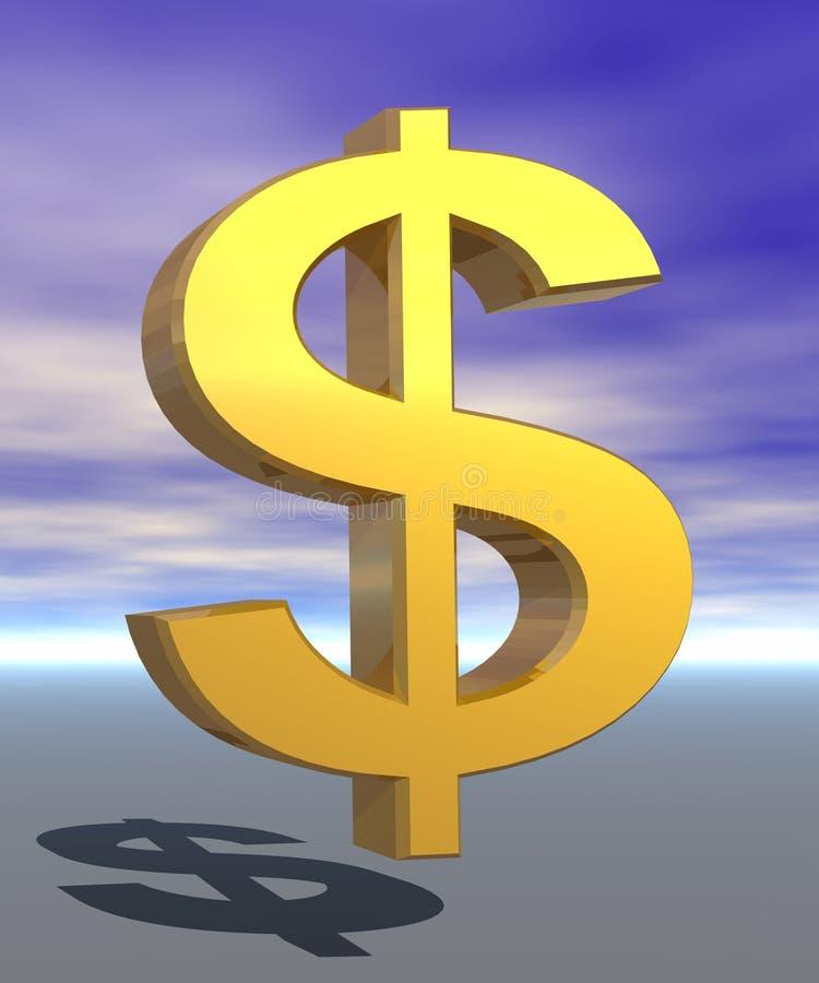 sinal de dólar 3D ilustração royalty free