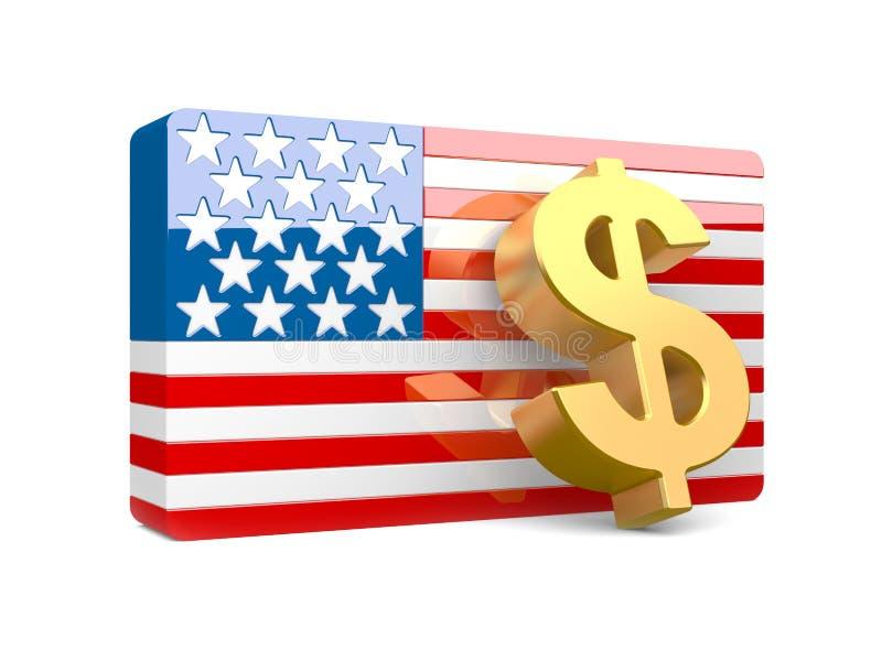 sinal de dólar 3D e bandeira dos EUA ilustração do vetor