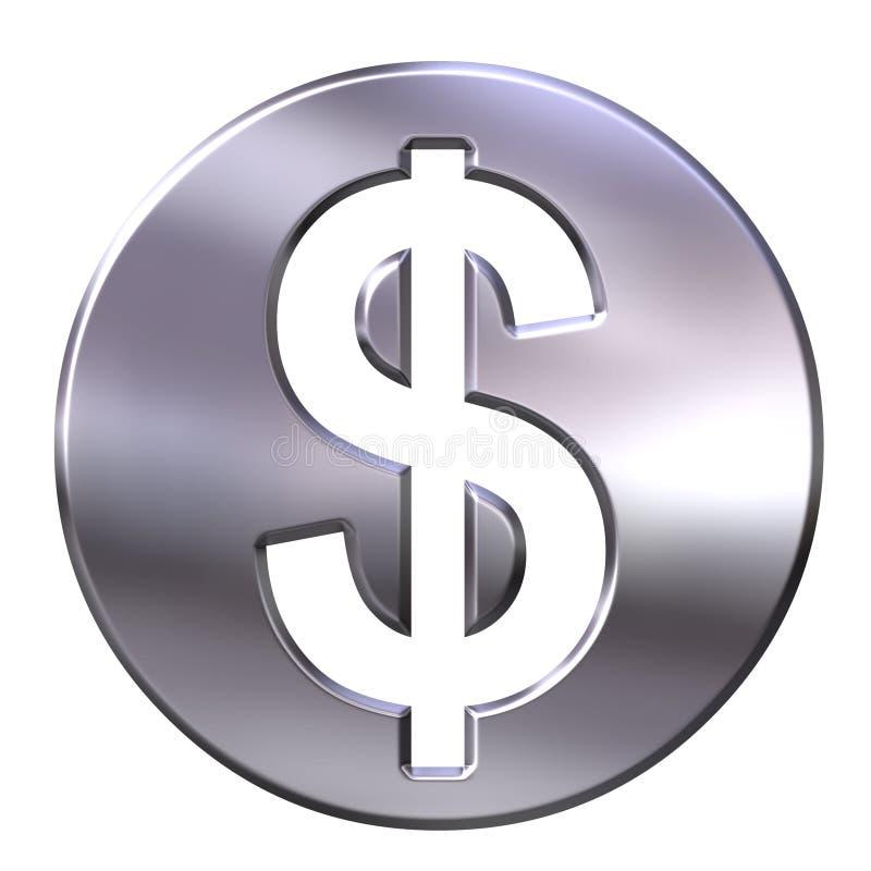 sinal de dólar 3D quadro de prata ilustração royalty free