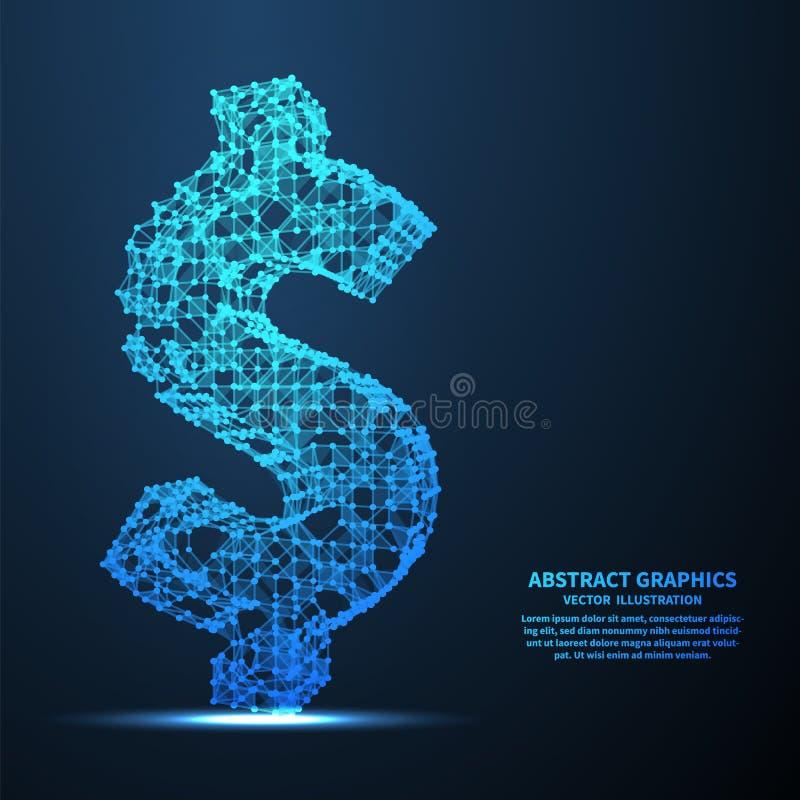 Sinal de dólar abstrato, ilustração do vetor Conexões de rede com os pontos e as linhas Fundo abstrato da tecnologia ilustração do vetor
