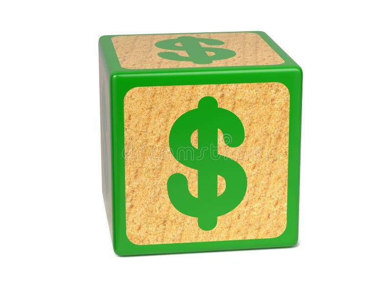 Sinal de dólar - bloco do alfabeto das crianças. imagem de stock