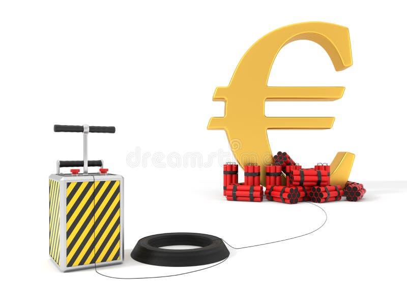 Sinal de dólar com bloco e detenator da dinamite ilustração 3D ilustração do vetor