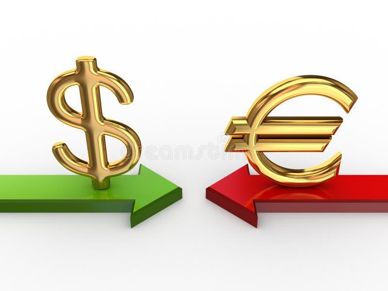 Sinal de dólar de encontro ao euro- sinal. ilustração royalty free