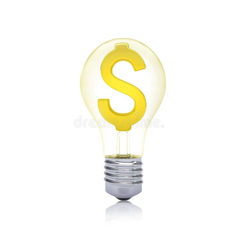 Sinal de dólar do ouro dentro do bulbo ilustração royalty free