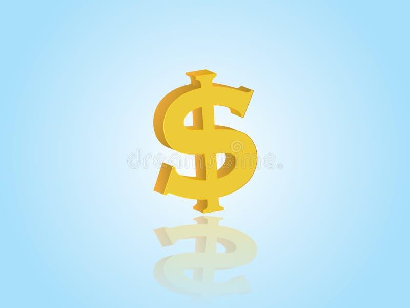 Sinal de dólar dourado para a moeda com ilustração do vetor da reflexão no fundo azul expressar o investimento no negócio ilustração stock