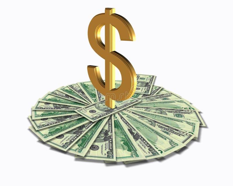 Sinal de dólar e dinheiro 3D ilustração do vetor