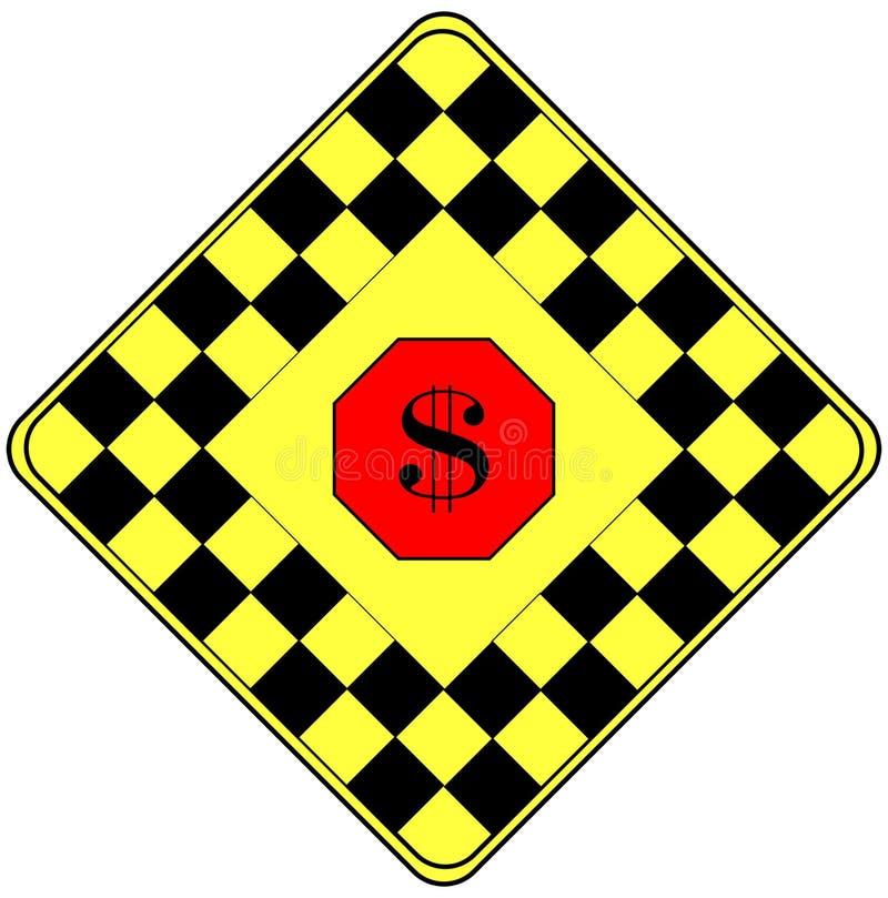 Sinal De Dólar Em Um Sinal De Aviso Do Tráfego Fotos de Stock