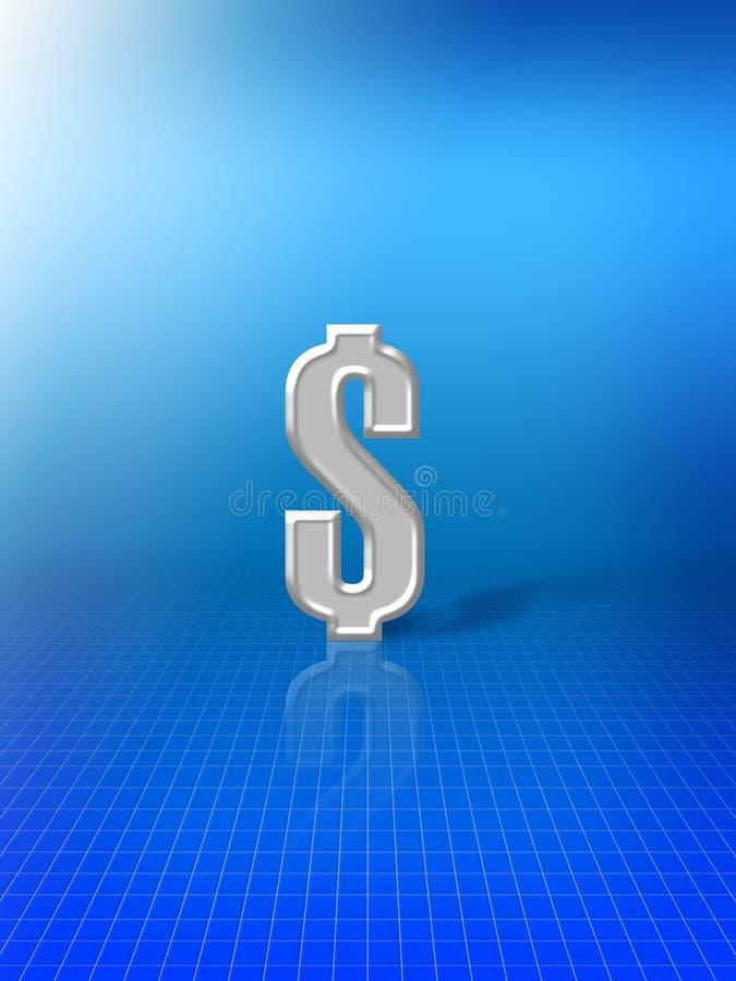 Sinal de dólar no fundo azul