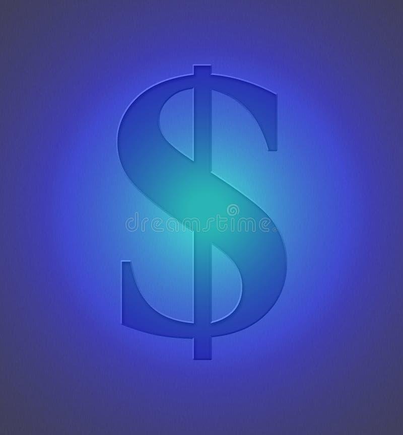 Sinal de dólar no metal azul ilustração do vetor
