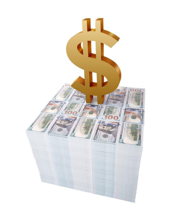 Sinal de dólar ou símbolo dourado sobre a pilha de notas de dólar dos E.U. isoladas no fundo branco ilustração stock