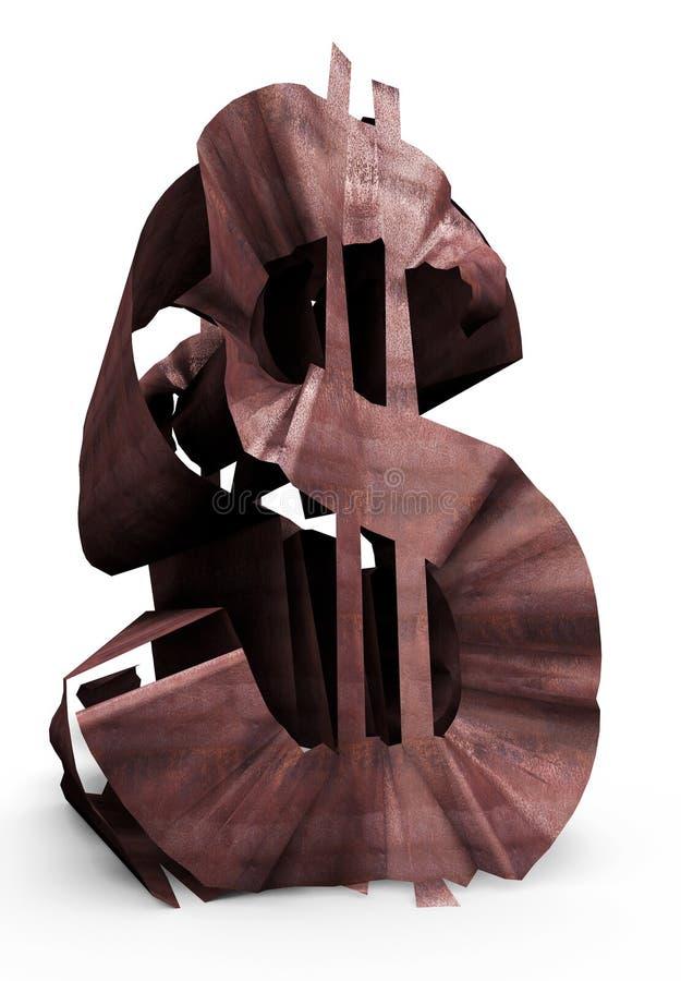Sinal de dólar oxidado fotografia de stock