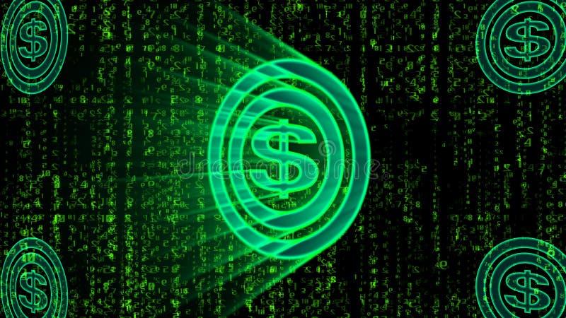 Sinal de dólar verde abstrato do bitcoin ilustração royalty free