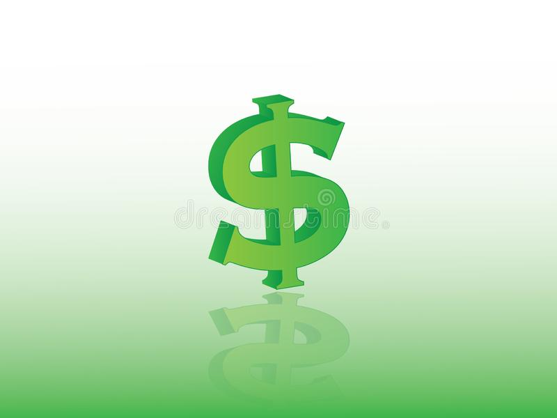 Sinal de dólar verde para a moeda com ilustração do vetor da reflexão no fundo claro expressar o investimento no negócio ilustração do vetor