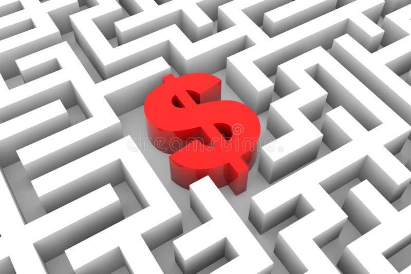 Sinal de dólar vermelho no labirinto. ilustração do vetor