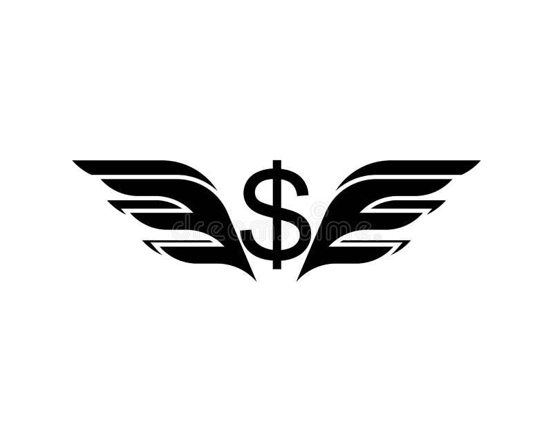 sinal de dólar de voo preto com ilustração isolada asas do vetor ilustração do vetor