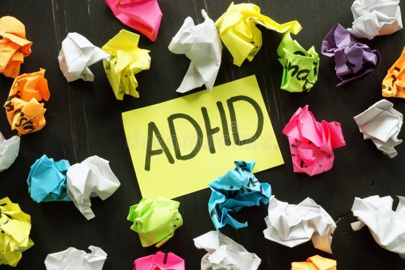 Sinal de desordem de hiperatividade do défice de atenção ADHD imagem de stock