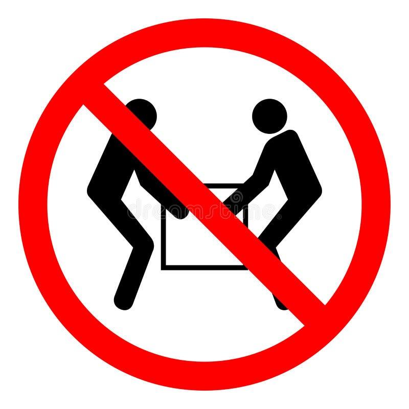 Sinal de duas pessoas do símbolo do elevador do uso do perigo de ferimento, ilustração do vetor, isolado na etiqueta branca do fu ilustração royalty free