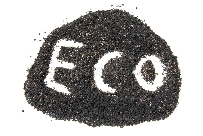 Sinal de Eco do sésamo preto isolado no fundo branco fotografia de stock