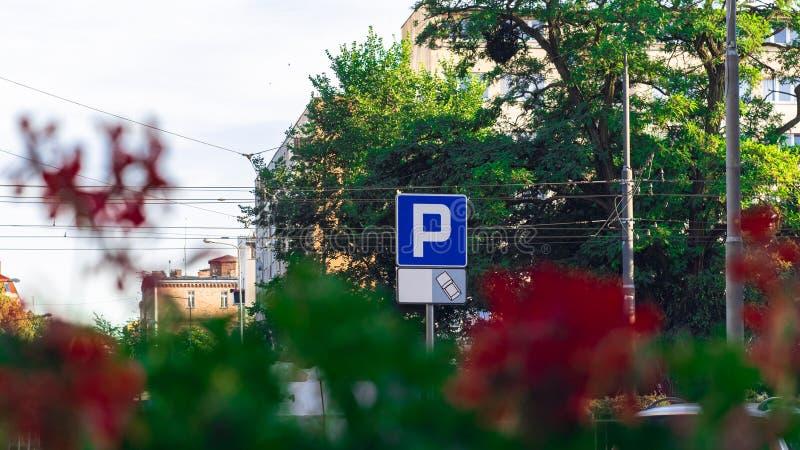 Sinal de estacionamento no fundo das flores e das árvores fotos de stock