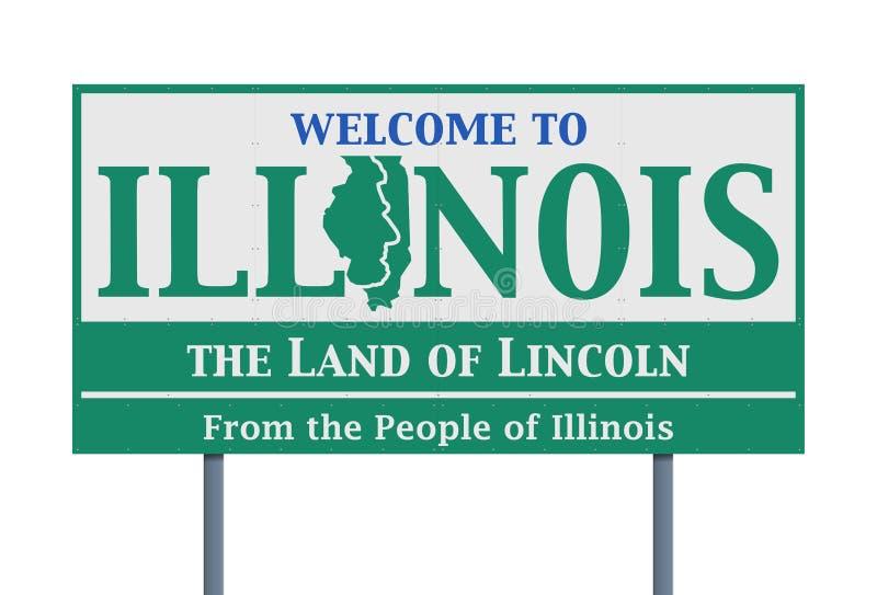 Sinal de estrada bem-vindo do estado de Illinois ilustração royalty free
