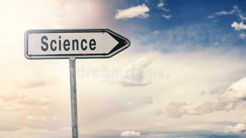 Sinal de estrada com a ciência da inscrição fotos de stock