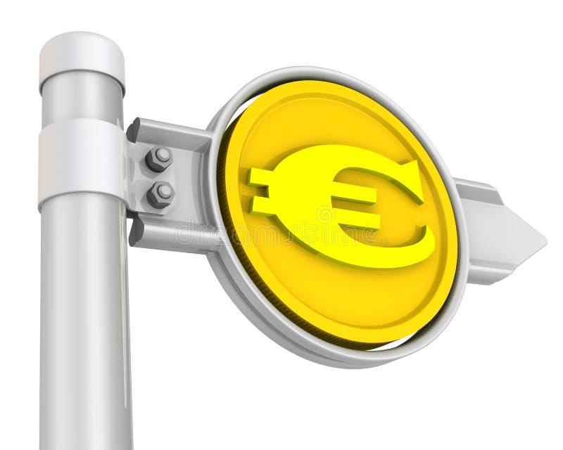 Sinal de estrada com euro- moeda ilustração do vetor