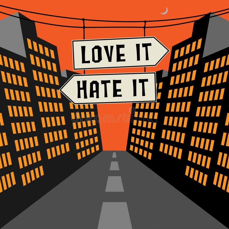 Sinal de estrada com setas opostas e amor do texto ele - odeie-o ilustração royalty free