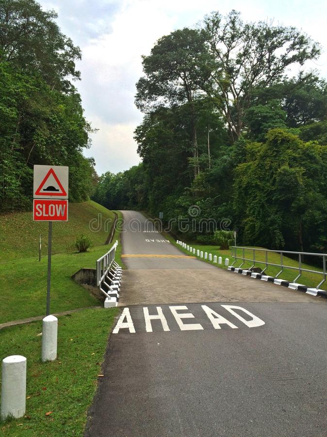 Sinal de estrada - corcunda adiante fotografia de stock royalty free
