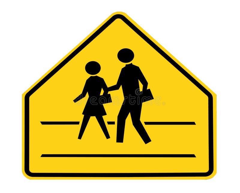 Sinal de estrada - cruzamento de escola com linhas foto de stock