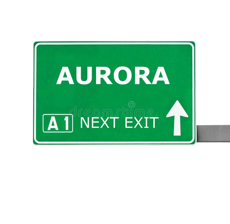 Sinal de estrada da AURORA isolado no branco fotos de stock