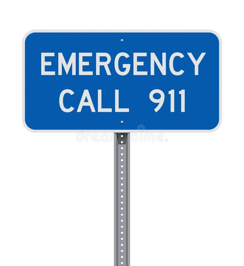 Sinal de estrada da chamada de emergência 911 ilustração do vetor