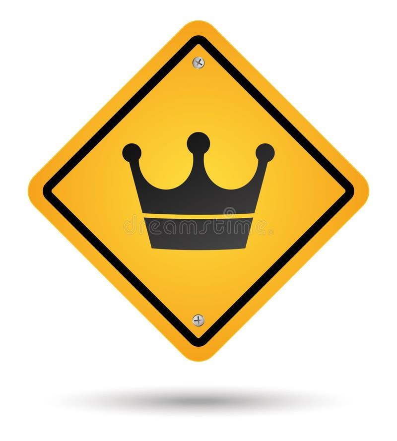 Sinal de estrada da coroa ilustração stock