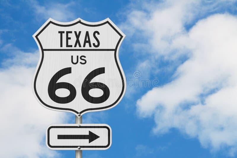 Sinal de estrada da estrada dos EUA da viagem por estrada da rota 66 de Texas E.U. fotos de stock royalty free