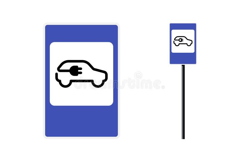 Sinal de estrada da estação de carga elétrica Ícone de lugar do estacionamento e do carregador de baterias para veículos ecológic ilustração royalty free