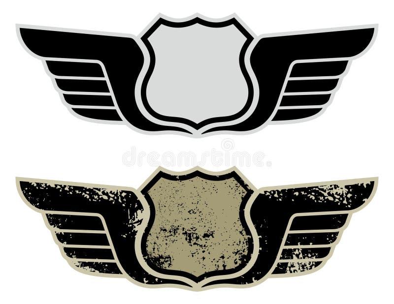 Sinal de estrada da estrada com asas ilustração stock
