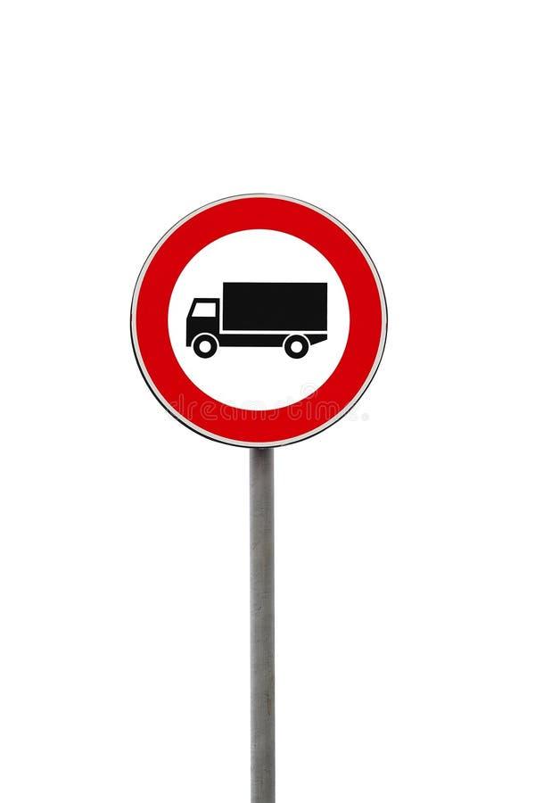 Sinal de estrada da interdição do caminhão fotografia de stock