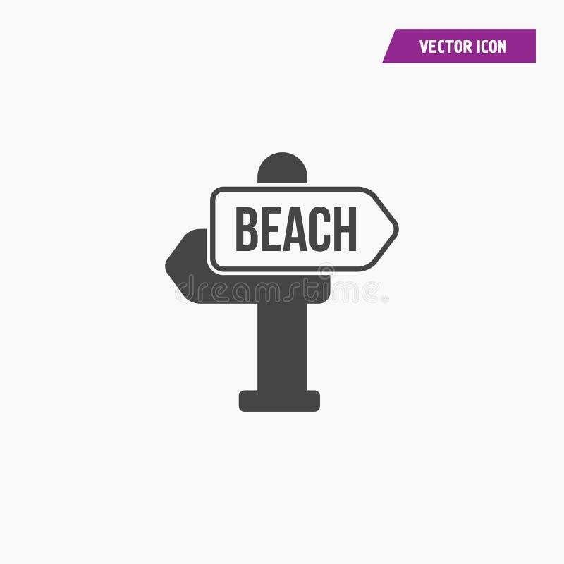 Sinal de estrada da praia, ícone do vetor de sentido ilustração do vetor