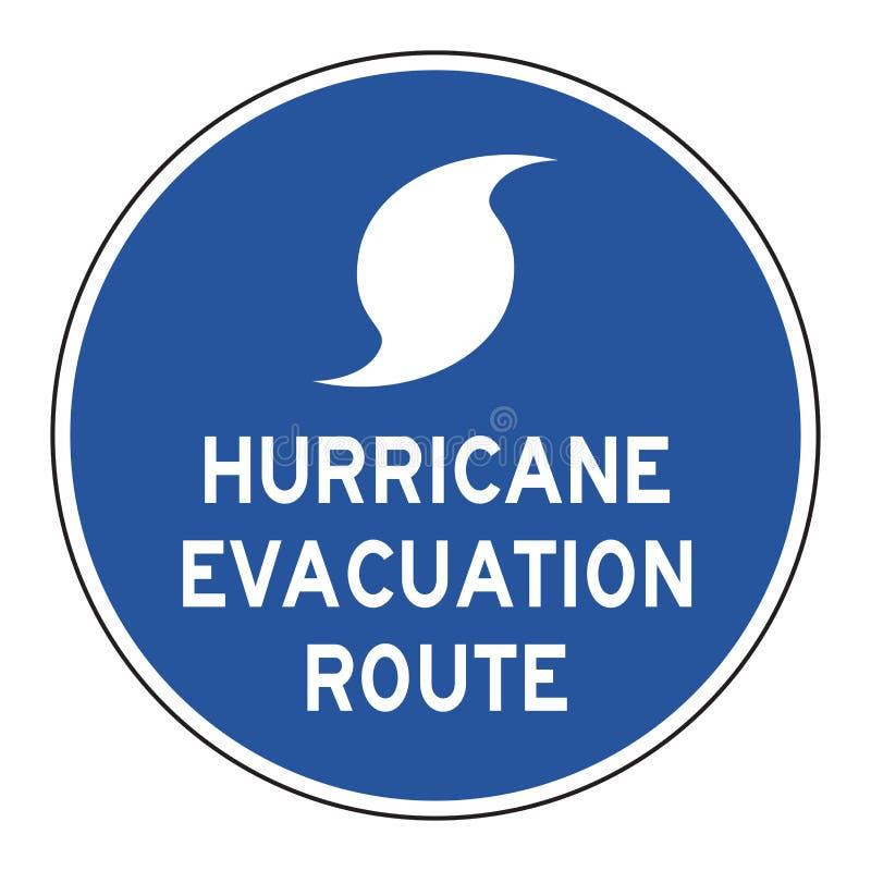 Sinal de estrada da rota da evacuação do furacão imagem de stock royalty free