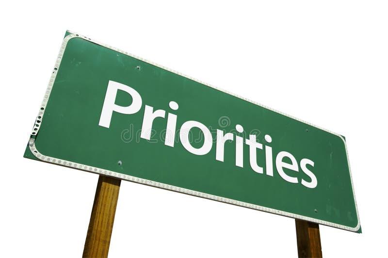 Sinal de estrada das prioridades imagem de stock royalty free