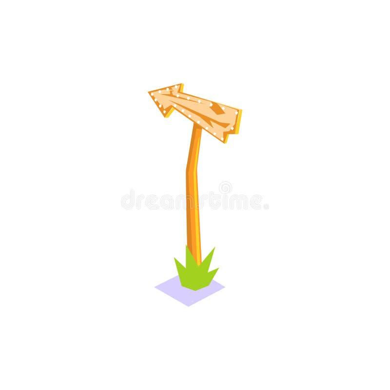 Sinal de estrada de madeira com elemento da paisagem da vila da selva da seta ilustração royalty free