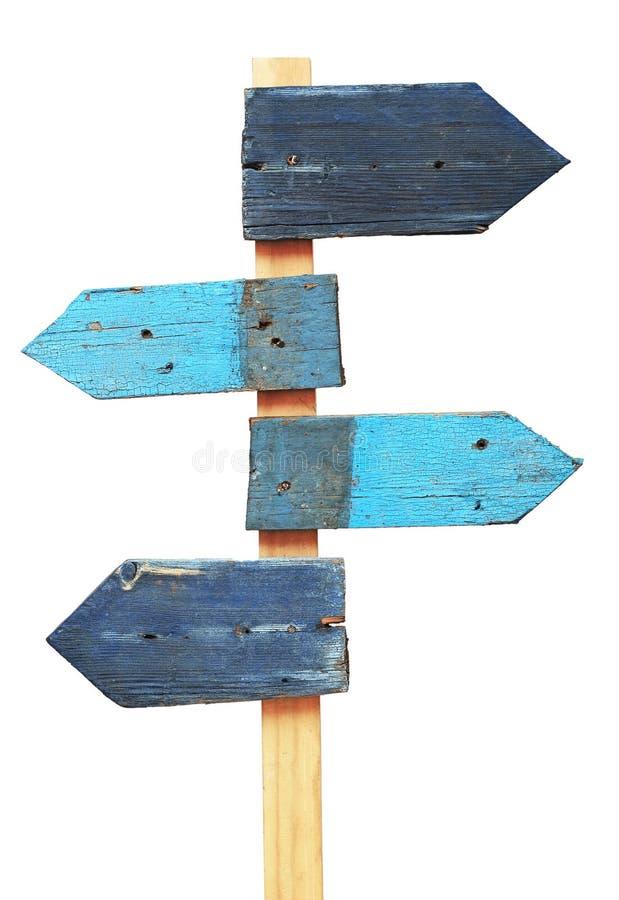 Sinal de estrada de madeira das setas foto de stock