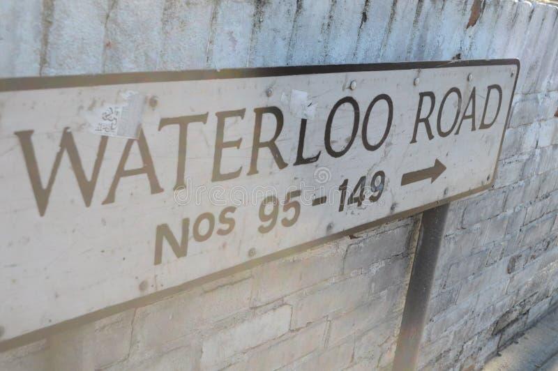 Sinal de estrada de Waterloo foto de stock