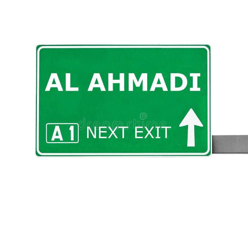 Sinal de estrada do AL AHMADI isolado no branco foto de stock