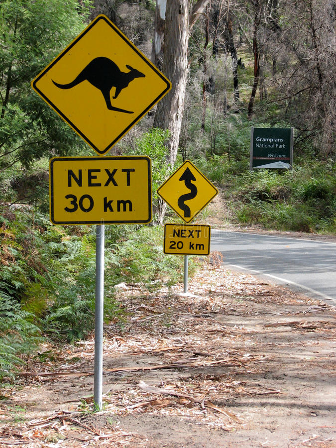 Sinal de estrada do canguru fotografia de stock