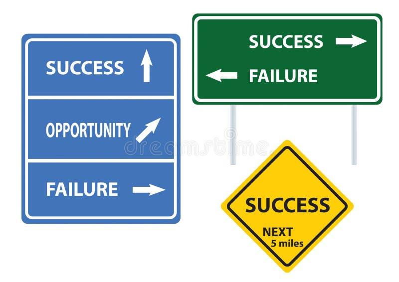Sinal de estrada do conceito do sucesso ilustração stock