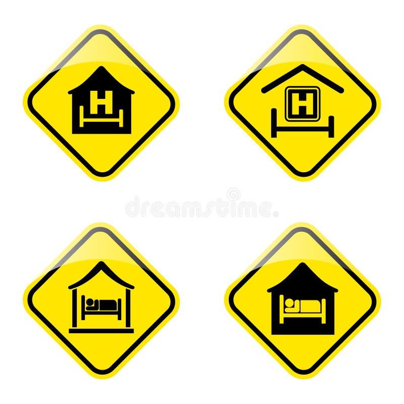 Sinal de estrada do hotel ilustração do vetor