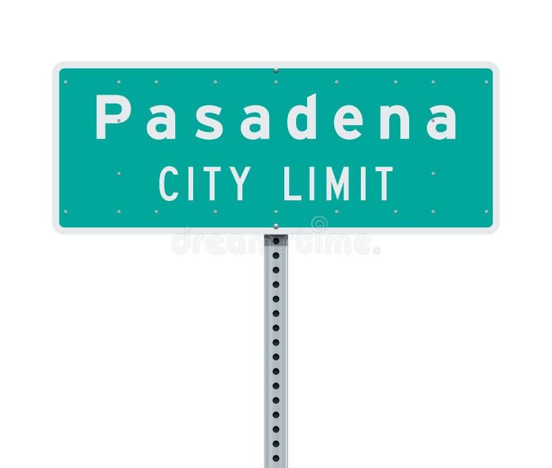 Sinal de estrada do limite de cidade de Pasadena ilustração royalty free