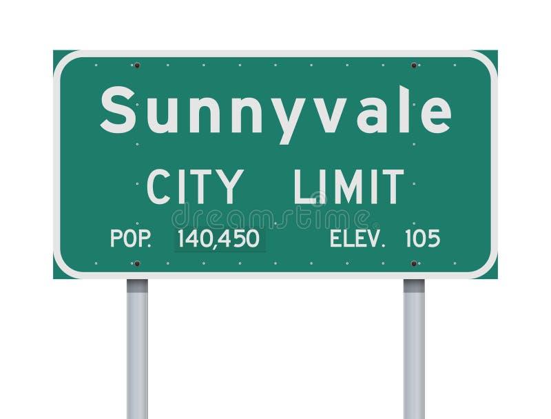 Sinal de estrada do limite de cidade de Sunnyvale ilustração stock