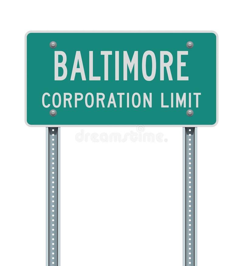 Sinal de estrada do limite do corporaçõ de Baltimore ilustração royalty free