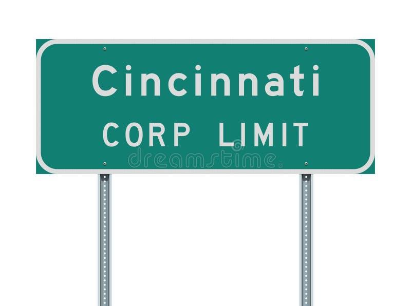 Sinal de estrada do limite do corporaçõ de Cincinnati ilustração do vetor